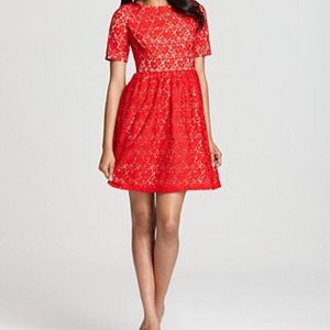 NEW Adrianna Papell Red Lace Short Sleeve Dress